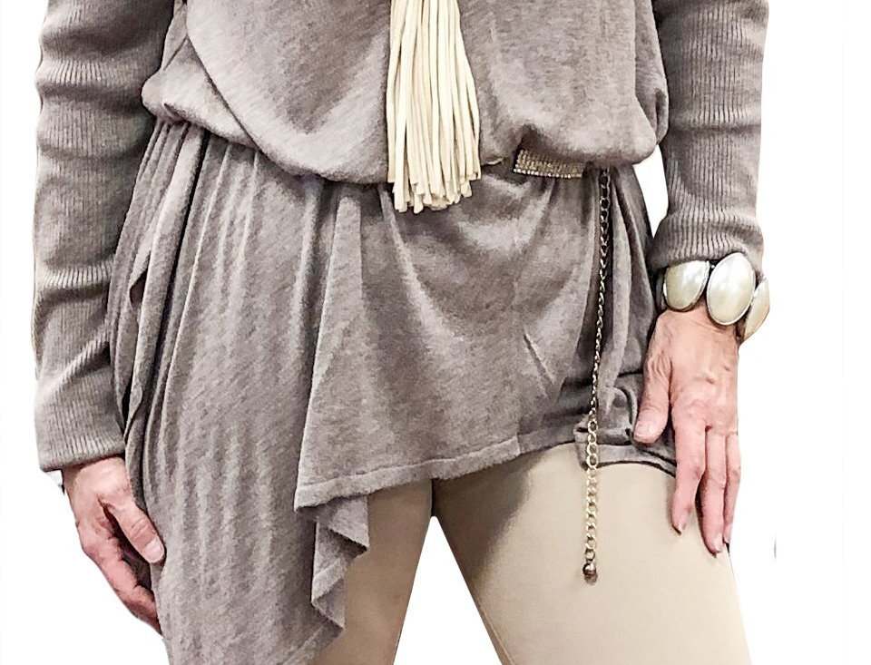 Cashmere Touch Stretch Asymmetric Tunic