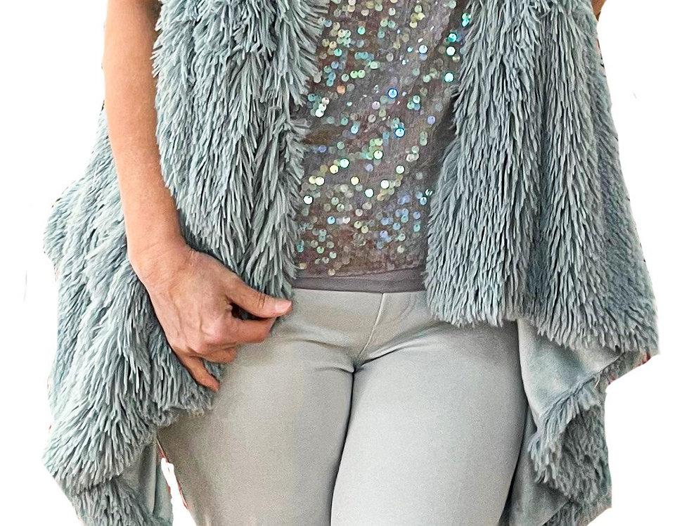 High-Low Faux Fur/Velvet Reversible Vest