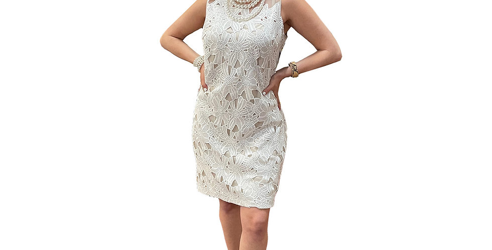 Timelessly Chic White Brocade Over Stretch Nude Sheath Dress