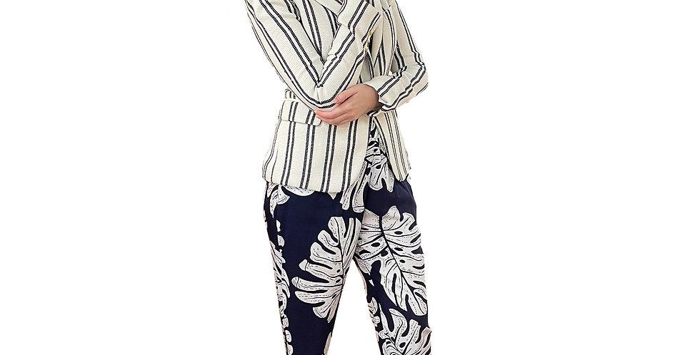Parisian Nacy & White Palm Print Vacation Pant