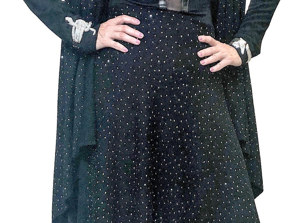 Black Cashmere Touch Sparkle Front Asymmetric Hem Knit Skirt