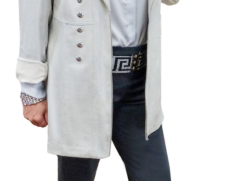 Stretch Light Silver Vegan Crombie with Silver Button Detail