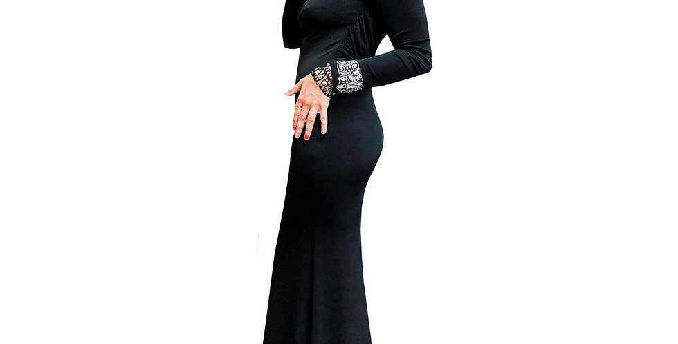 Black Matte Jersey Stretch Gown with Jewel Cuff & Sheer Mesh Back