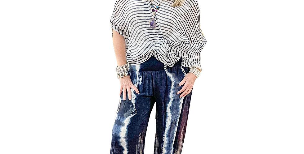 Italian Washable Silk Boat-Neck Stripe Silk Tunic with Cami Liner