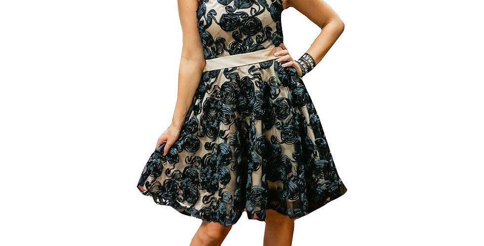 Black Roses Over Sheer Nude Belted Strapless Mini Dress