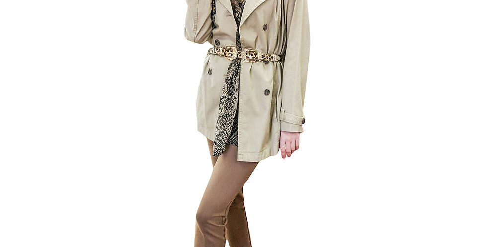 3/4 Double Breasted Poplin Trench