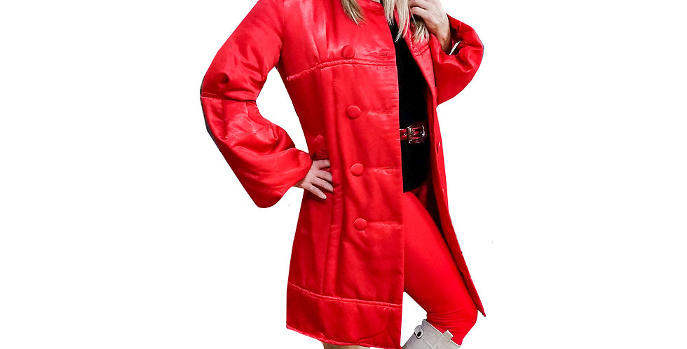 Quilted Satin Bell Sleeve Puff Coat