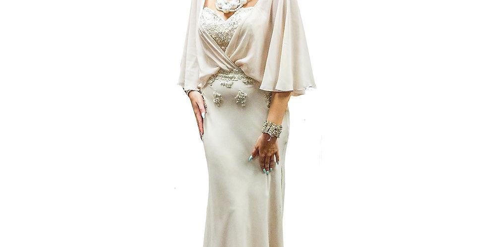 3/4 Flounce Sleeve Gown with Beaded Sweetheart-Neck