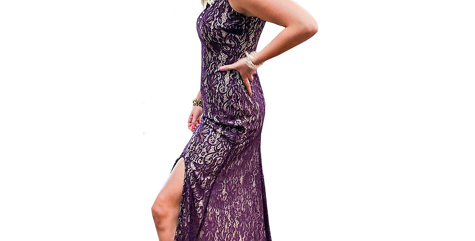 Hollywood Confidential Grape Stretch Lace-Over-Nude Jewel-Neck Gown