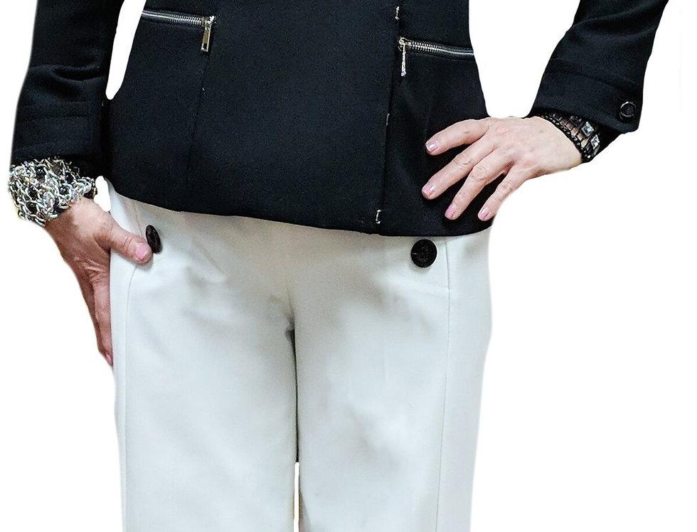White 4-Button Front Wide Leg Gabardine Trouser