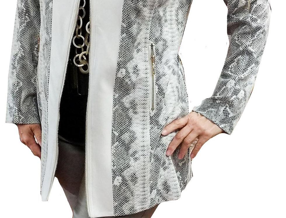 White/Natural Python Paneled Stretch Vegan Leather Crombie