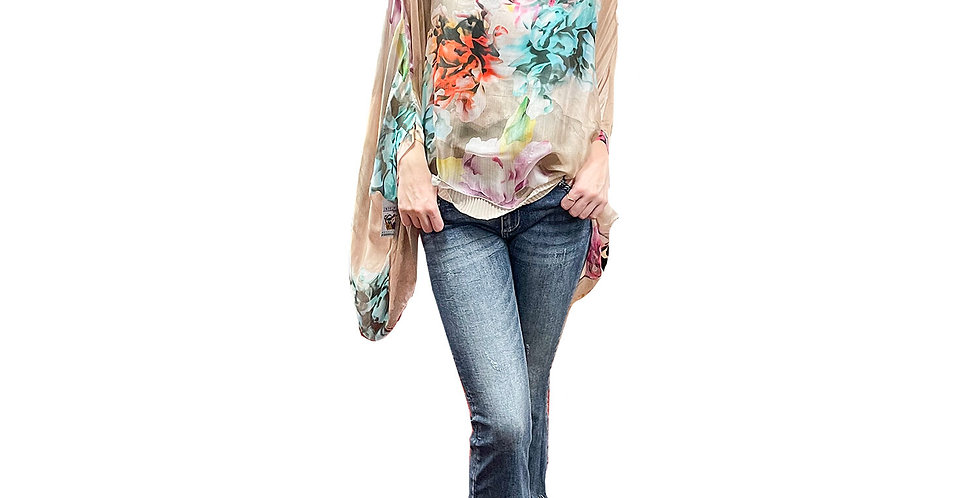 French Hand Painted Washable Silk Tunic