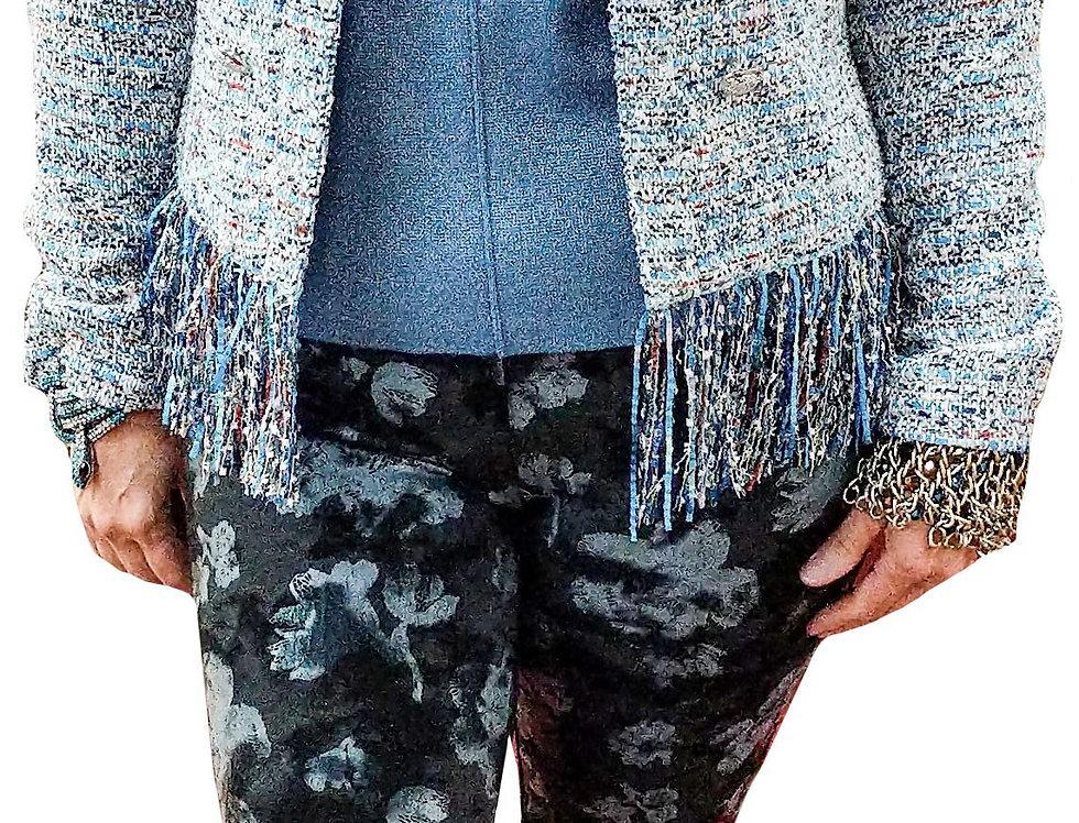 Powder Blue Tweed Boucle Fringe Collarless Jacket