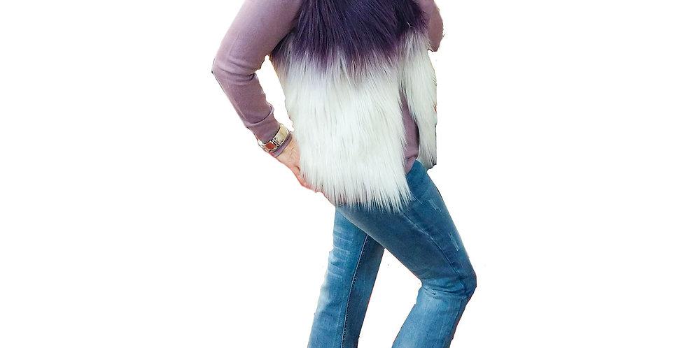 Faux Fur Plum and Ice White Ombre Vest