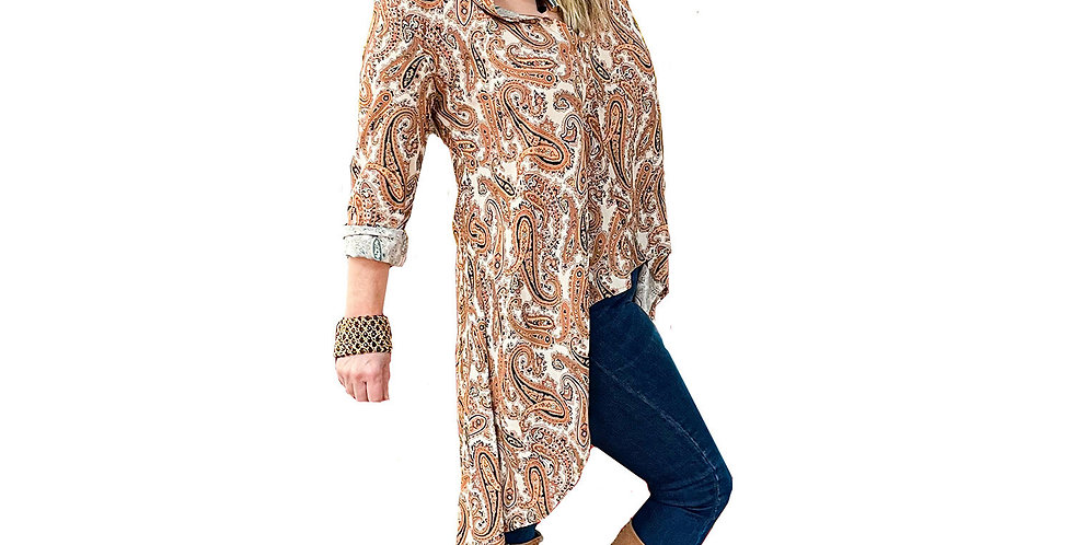 Provance Floral High Low Tunic Blouse