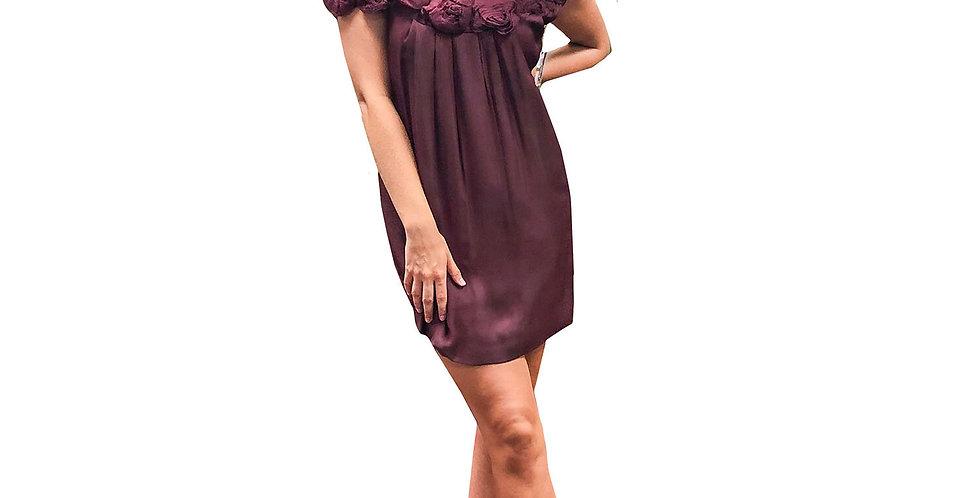 Merlot Crepe Rosette Off-Shoulder Neckline Dress