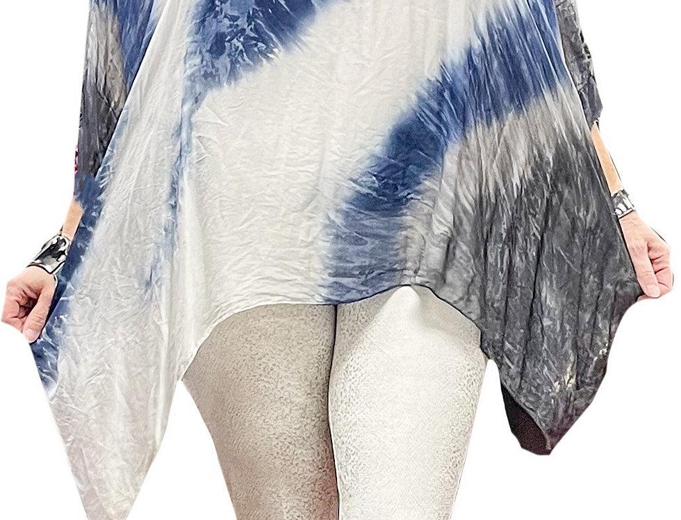 Crochet Sparkle V-Neck Washable Silk Dip-Dye Tunic with Silk Jersey Cami
