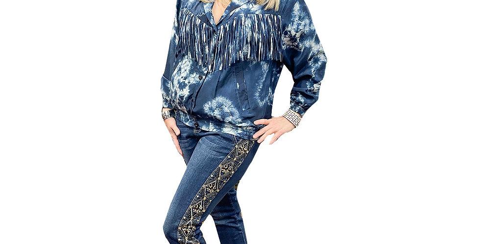 Stretch Denim Jewel Side Panel Skinny Jean