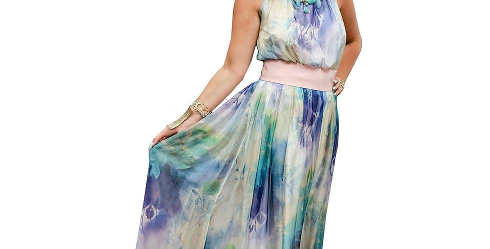 Impressionist Watercolor Chiffon Halter Gown