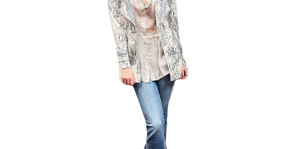 Blush and Silver Faux Python Crombie Coat