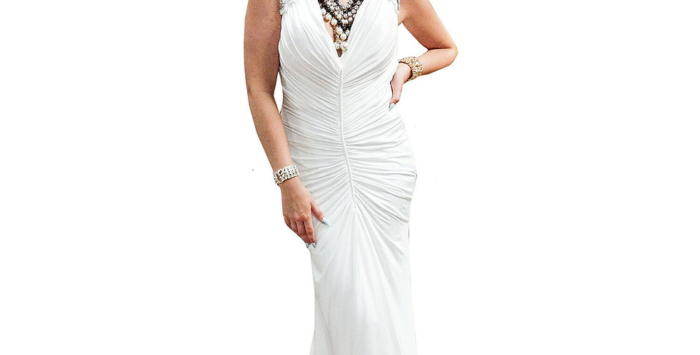 Silver Sequin Epaulet Low-V Ruched Gown