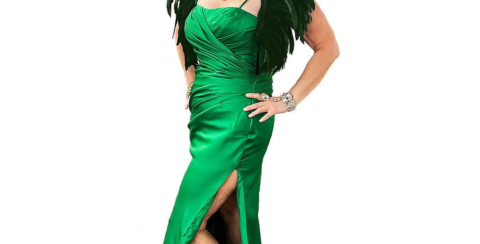 Emerald Satin Side-Slit Gown