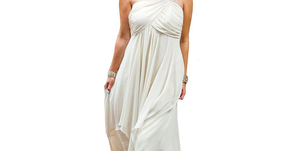 Greek Goddess One-Shoulder Asymmetric Hem Gown