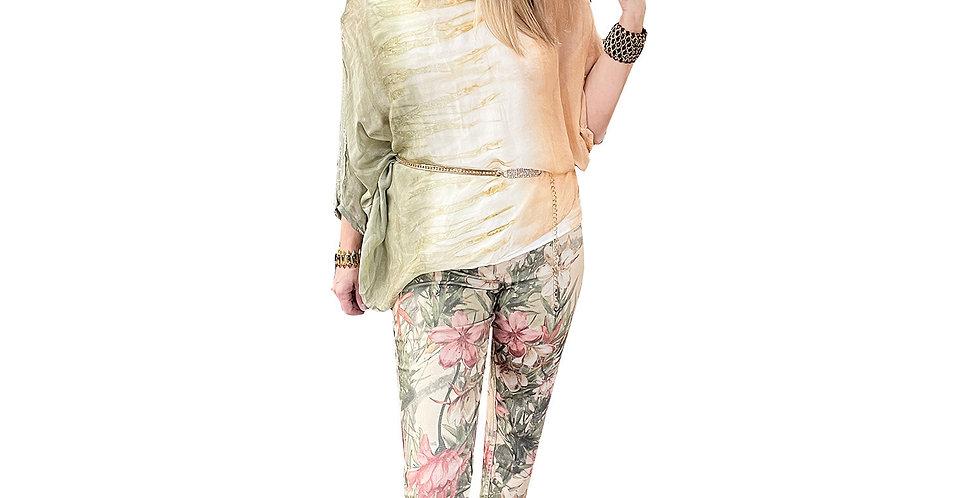 Venetian Sage Floral Reversible To Solid Denim Jean