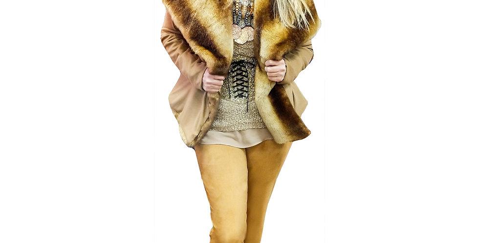 Microsuede & Faux Fur Shawl/ Hoodie Jacket
