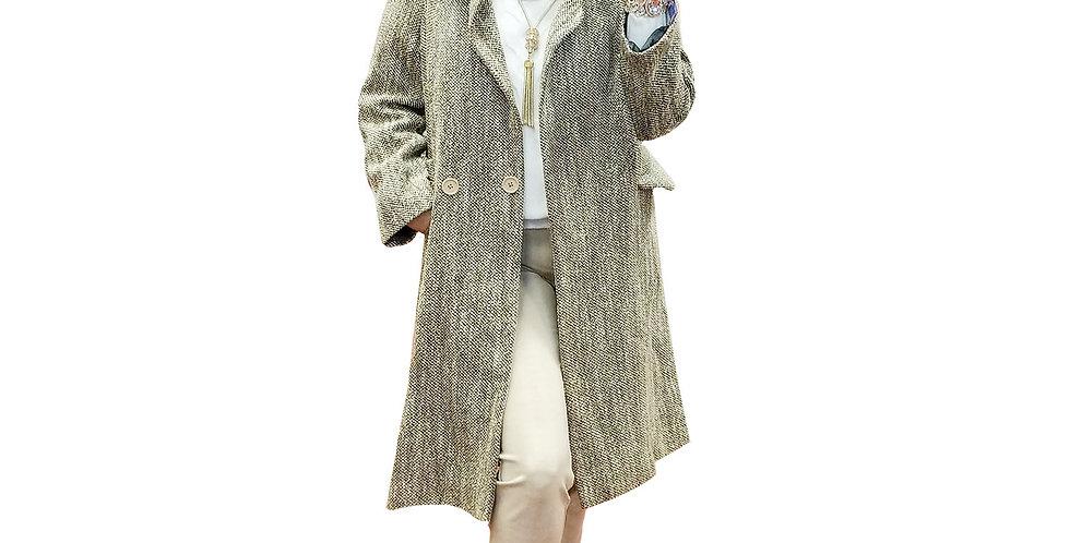 Tweed & lurex Menswear Inspired Coat