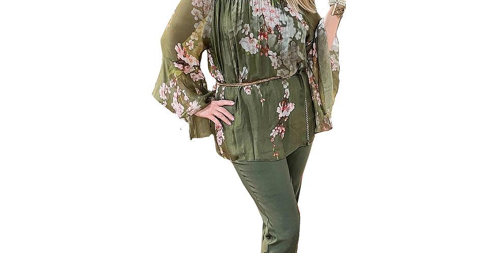 Green Floral Washable Silk On/Off Shoulder Blouse