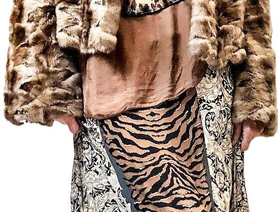 Mixed Media Animal Print Maxi Skirt