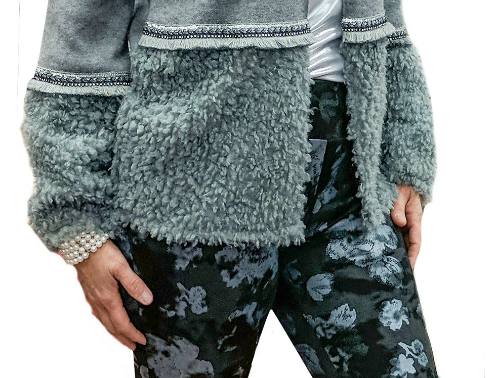 Cashmere Touch Flat Knit Cardigan with Plush Boucle Bottom and Sleeves