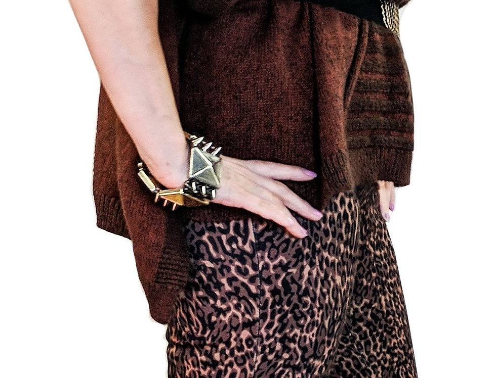 Black and Brown Geo Pattern Stretch Miracle Pant