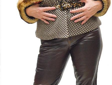 Chocolate Stretch Pleather 5 Pocket Jean
