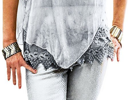Icy Grey Washable Silk Tunic with Jersey Stretch Fabric