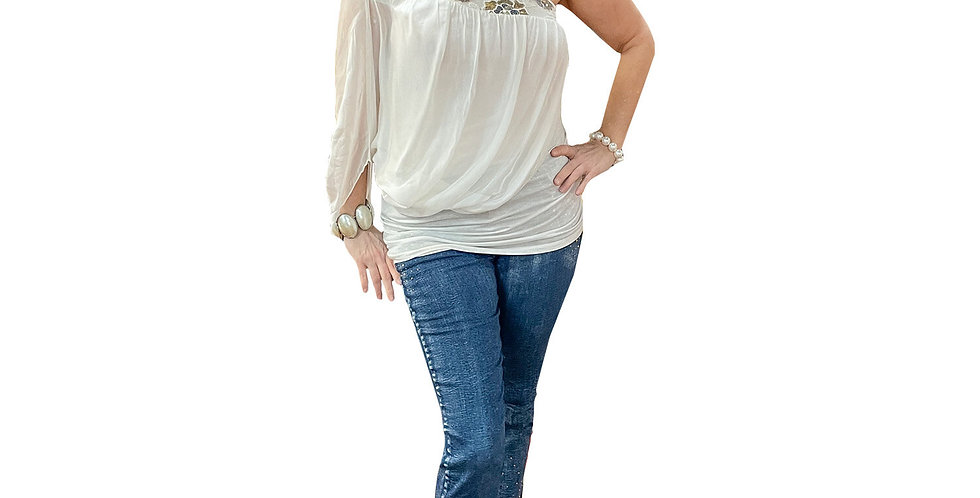 Washable Silk Asymmetric Jersey Lined Tunic