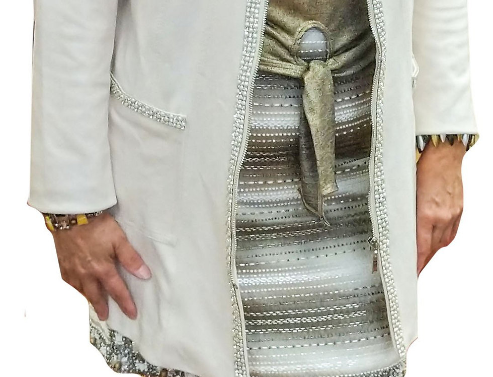 Coconut Vegan Leather Crystal Trim Crombie Coat