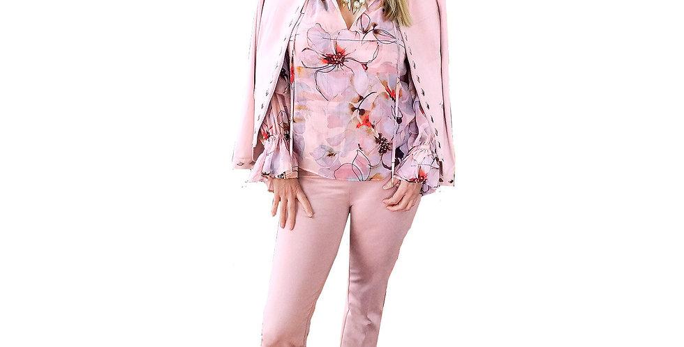 Powdered Pink Stretch Suede Collarless Zip Up Jacket w/ Silver Diamond Adornment