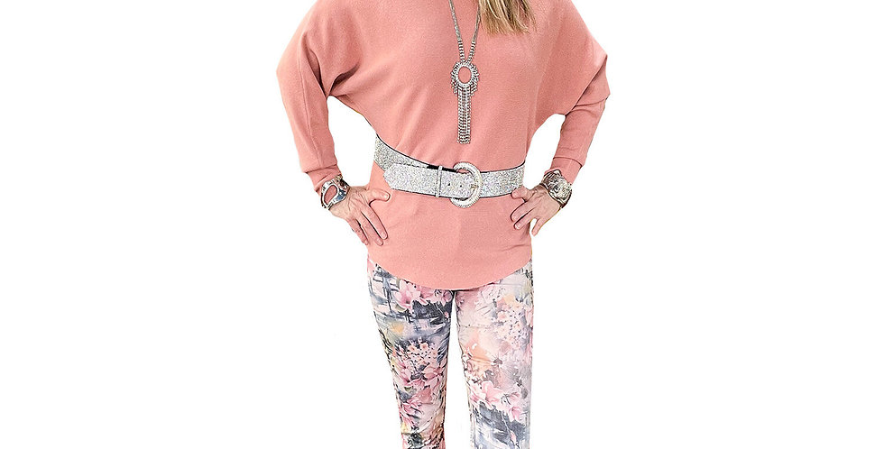 French Pastel Floral Reversible to Solid Pink Jean