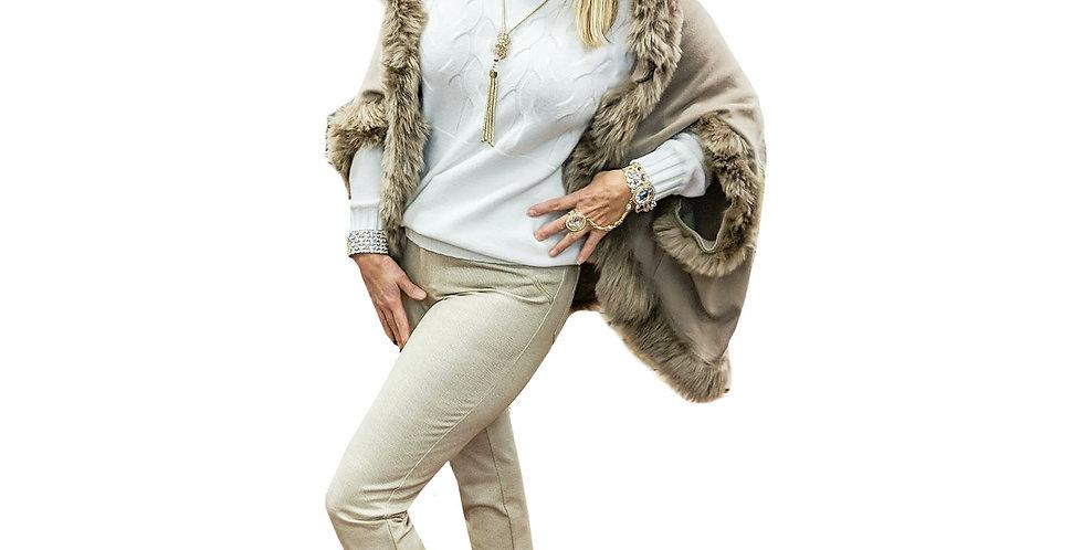 Faux Fur Trimmed Cashmere-Touch Knit Cocoon Wrap