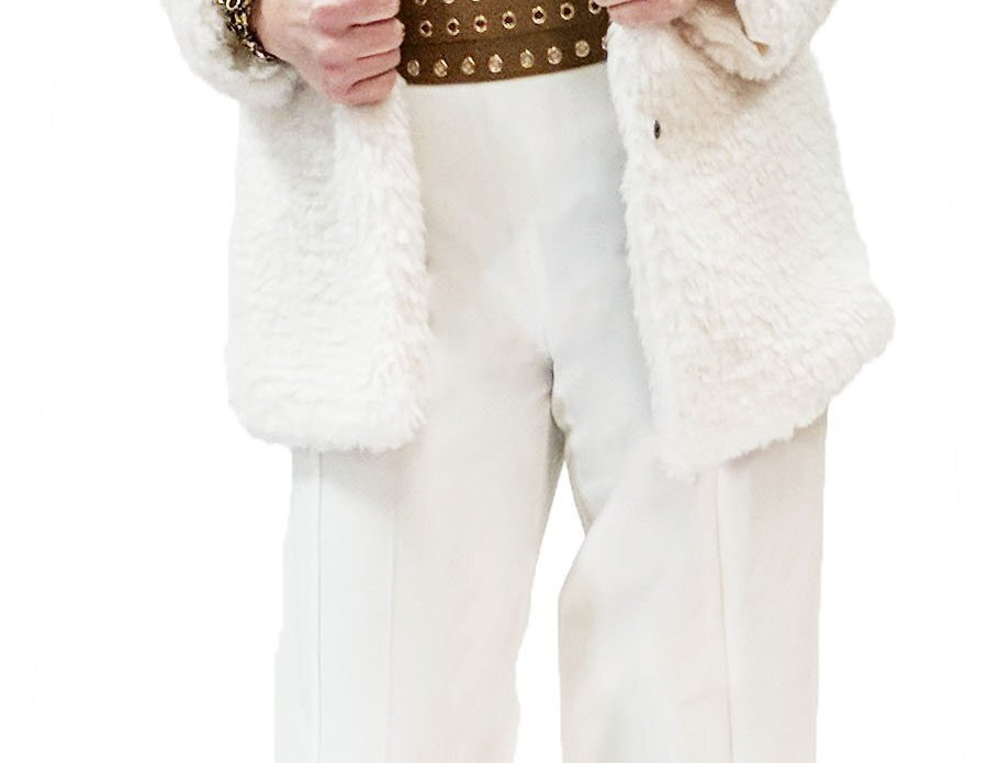 Winter White Faux Fur Satin Lined Jacket