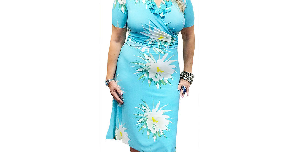 Jersey Stretchy Knee Length Wrap Dress