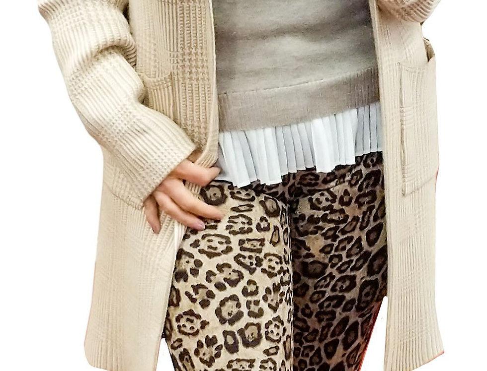 Suede Leopard Stretch 5 Pocket Pants