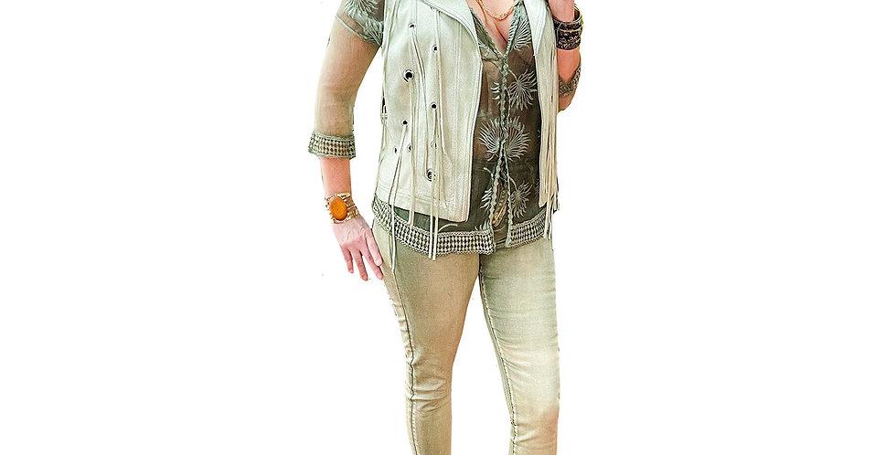 Italian Stretch Sage Denim Jeweled-Cuff Jeans