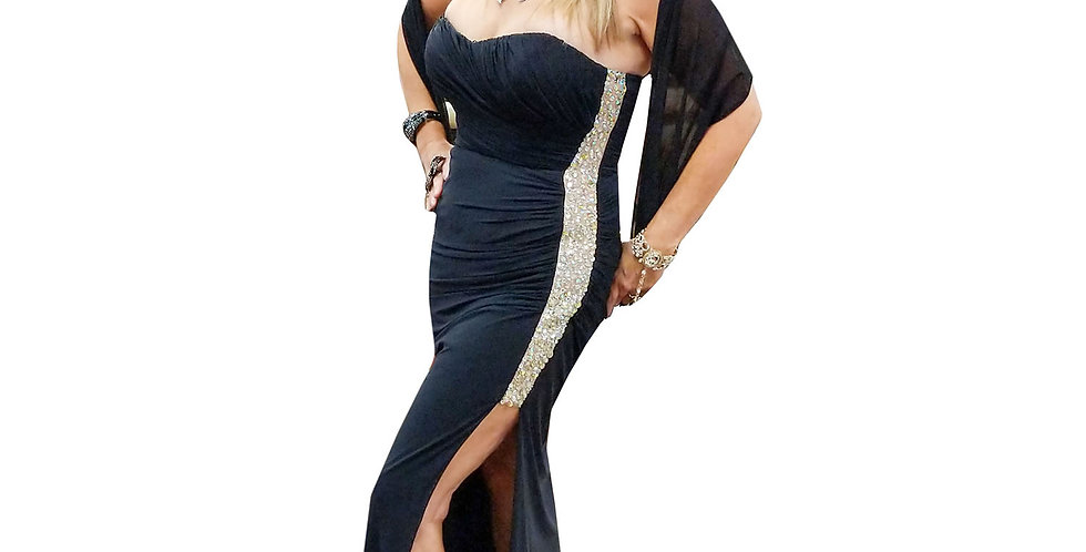 Strapless Side-Sequin Gown with Leg Slit