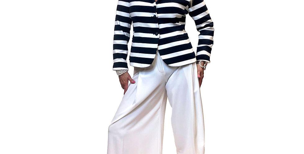Lux Cotton Jersey Bold Stripe Fitted Blazer Navy/White