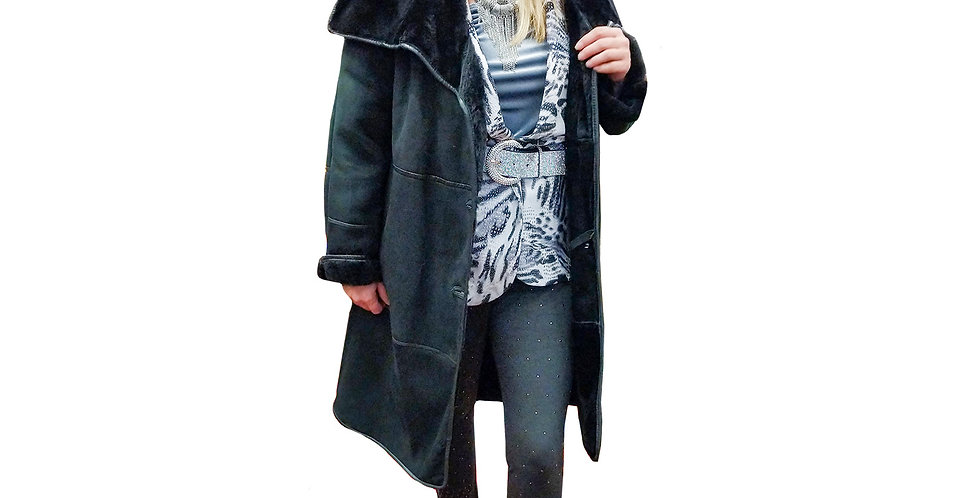 Italian Tuscanna Sueded Shearling Leather Trimmed Coat