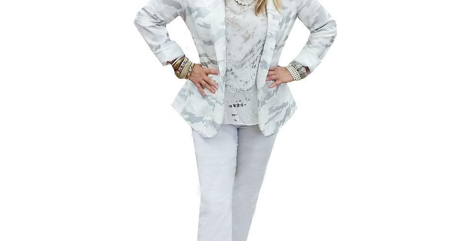 Parisian Chic White Silver Stretch Scuba Camo Blazer