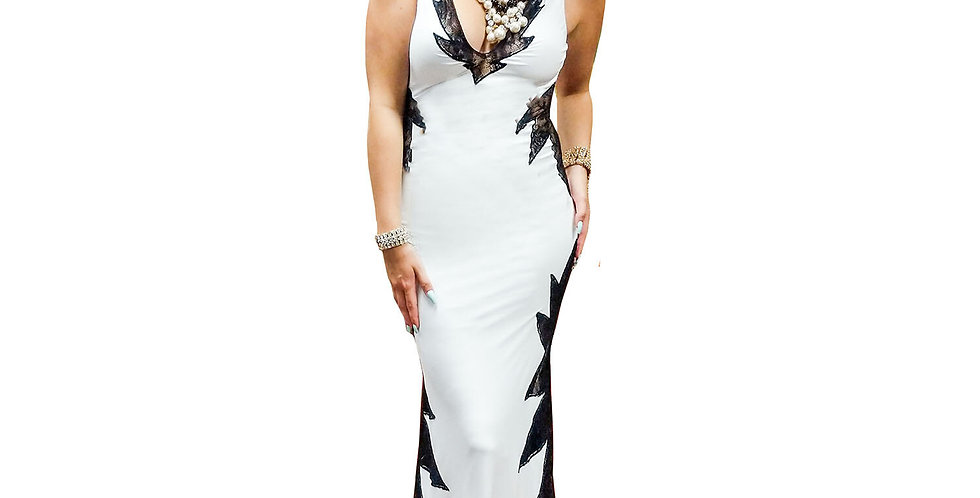 40's Vamp Matte Jersey Black and White Strapless Gown